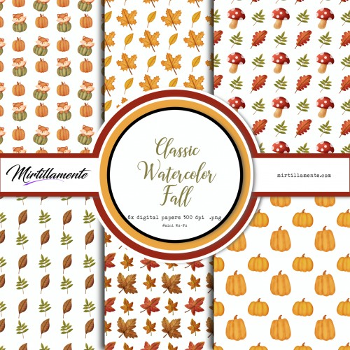 MINI PAPERS: CLASSIC WATERCOLOR FALL 15X15 CM