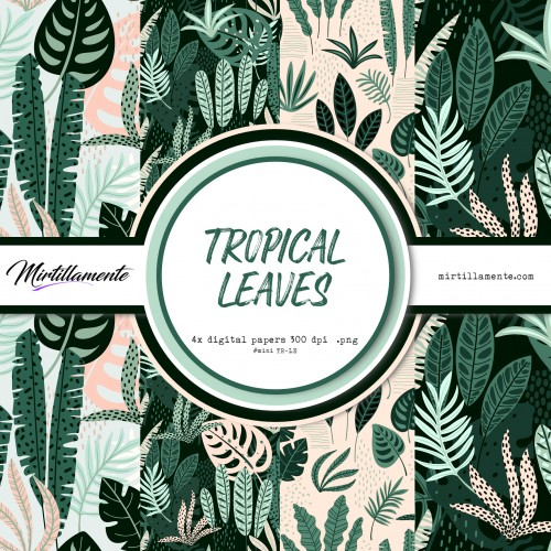 MINI PAPERS: TROPICAL LEAVES 15X15 CM