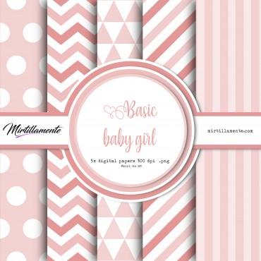 MINI PAPERS: BASIC BABY GIRL 15X15 CM