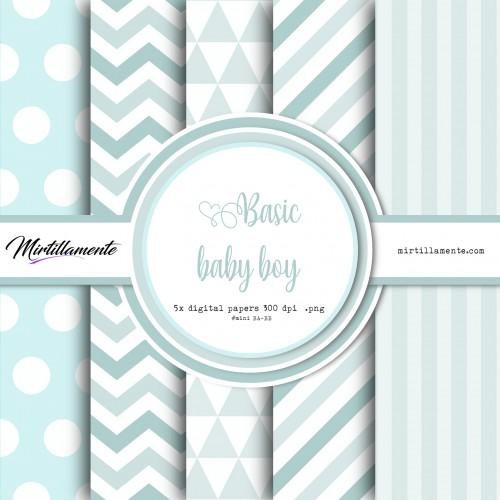 MINI PAPERS: BASIC BABY BOY 15X15 CM