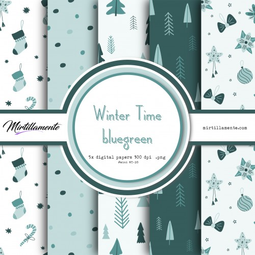 MINI PAPERS: WINTER TIME BLUEGREEN 15X15 CM