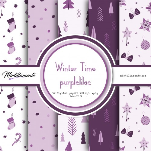 MINI PAPERS: WINTER TIME PURPLELILAC 15X15 CM